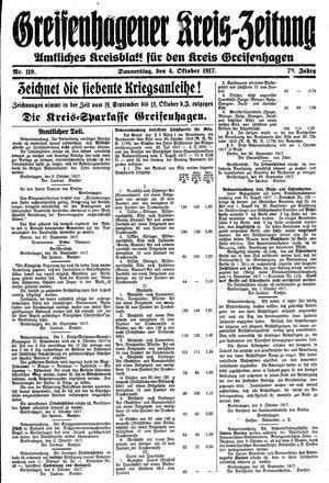 Greifenhagener Kreiszeitung vom 04.10.1917