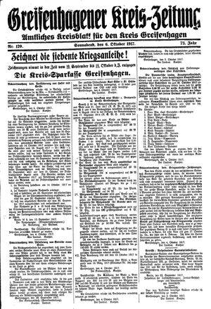 Greifenhagener Kreiszeitung vom 06.10.1917