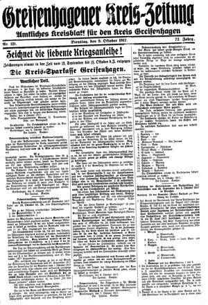 Greifenhagener Kreiszeitung on Oct 9, 1917