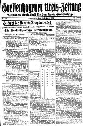 Greifenhagener Kreiszeitung vom 11.10.1917