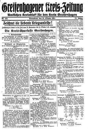 Greifenhagener Kreiszeitung vom 13.10.1917