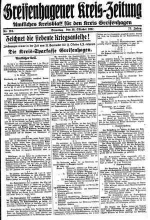 Greifenhagener Kreiszeitung vom 16.10.1917