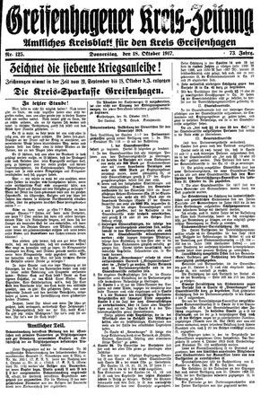 Greifenhagener Kreiszeitung vom 18.10.1917