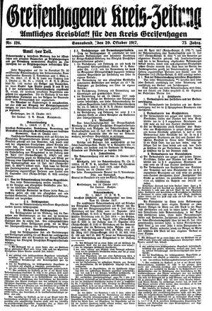 Greifenhagener Kreiszeitung vom 20.10.1917
