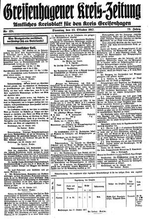 Greifenhagener Kreiszeitung vom 23.10.1917