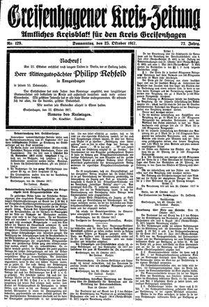 Greifenhagener Kreiszeitung vom 25.10.1917