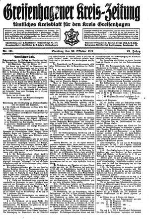 Greifenhagener Kreiszeitung vom 30.10.1917