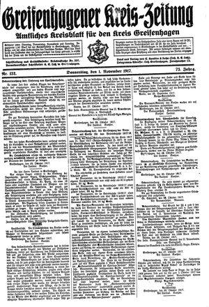 Greifenhagener Kreiszeitung vom 01.11.1917