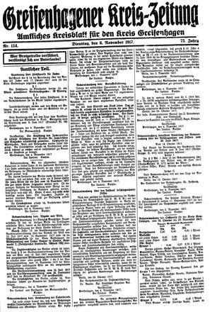 Greifenhagener Kreiszeitung vom 06.11.1917