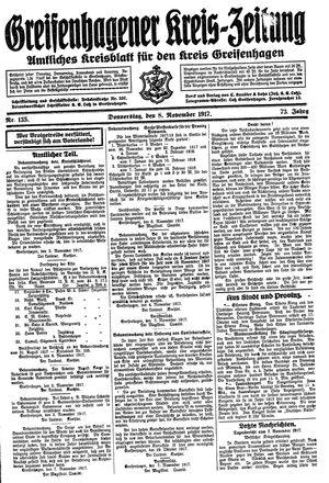 Greifenhagener Kreiszeitung vom 08.11.1917