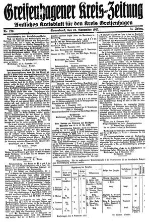 Greifenhagener Kreiszeitung vom 10.11.1917