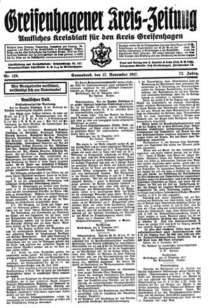 Greifenhagener Kreiszeitung vom 17.11.1917