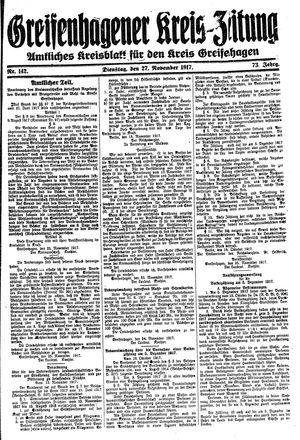 Greifenhagener Kreiszeitung vom 27.11.1917