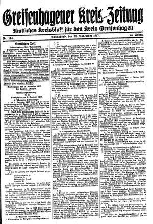 Greifenhagener Kreiszeitung vom 01.12.1917