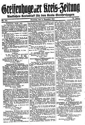 Greifenhagener Kreiszeitung vom 04.12.1917