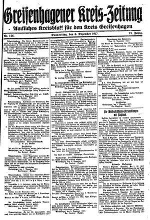 Greifenhagener Kreiszeitung vom 06.12.1917