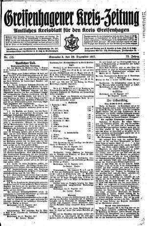 Greifenhagener Kreiszeitung vom 29.12.1917