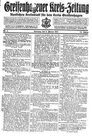 Greifenhagener Kreiszeitung vom 08.01.1918