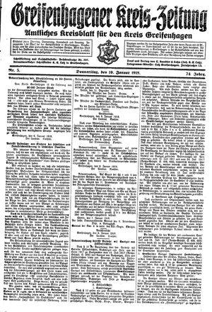 Greifenhagener Kreiszeitung vom 10.01.1918