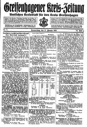 Greifenhagener Kreiszeitung vom 17.01.1918