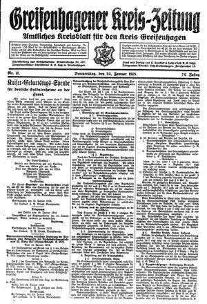 Greifenhagener Kreiszeitung vom 24.01.1918