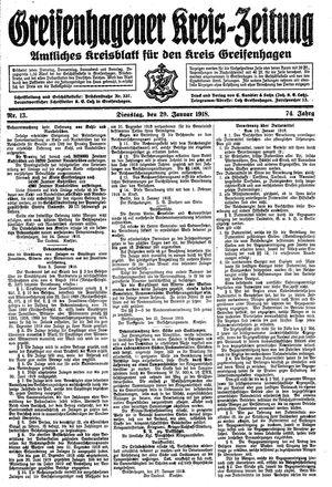 Greifenhagener Kreiszeitung vom 29.01.1918