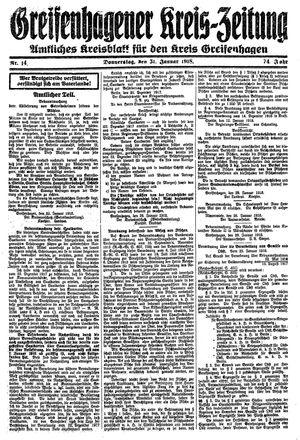 Greifenhagener Kreiszeitung vom 31.01.1918