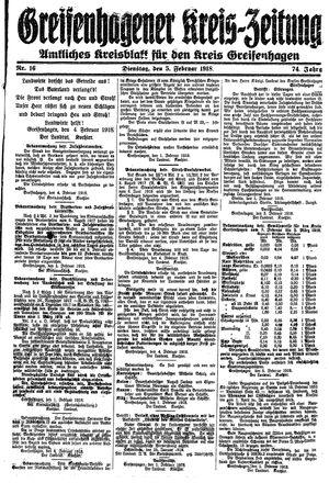 Greifenhagener Kreiszeitung vom 05.02.1918