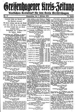 Greifenhagener Kreiszeitung vom 07.02.1918