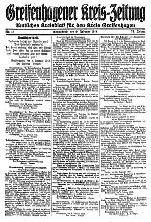 Greifenhagener Kreiszeitung vom 09.02.1918