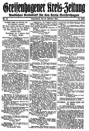 Greifenhagener Kreiszeitung vom 16.02.1918