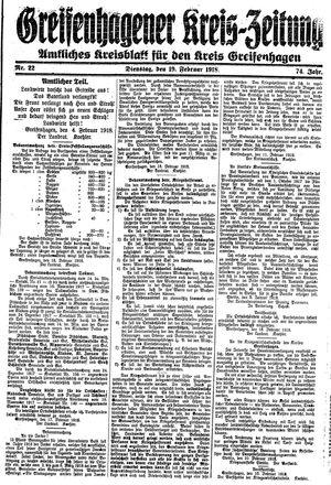 Greifenhagener Kreiszeitung vom 19.02.1918