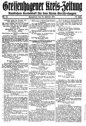 Greifenhagener Kreiszeitung vom 23.02.1918