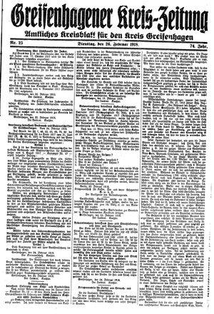 Greifenhagener Kreiszeitung vom 26.02.1918