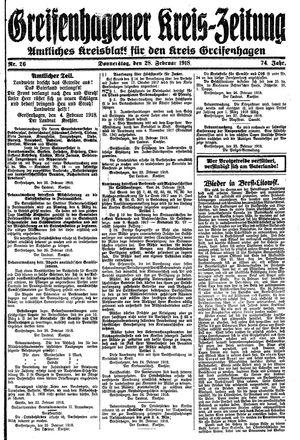 Greifenhagener Kreiszeitung vom 28.02.1918