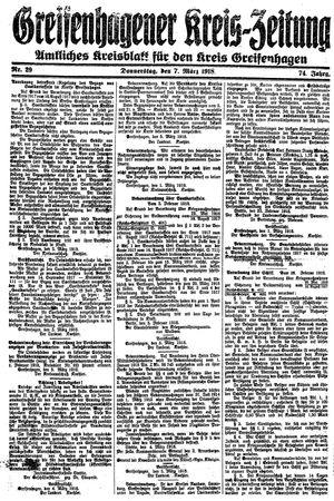 Greifenhagener Kreiszeitung vom 07.03.1918