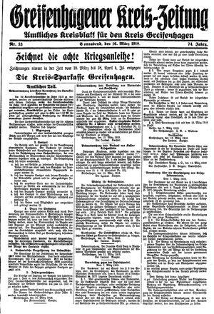 Greifenhagener Kreiszeitung vom 16.03.1918
