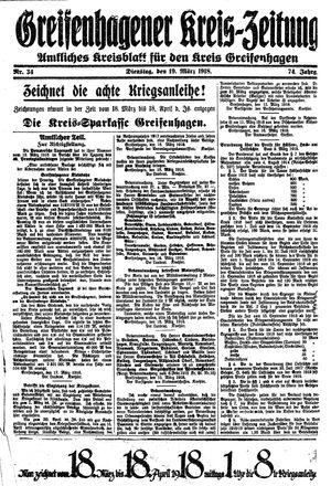 Greifenhagener Kreiszeitung vom 19.03.1918