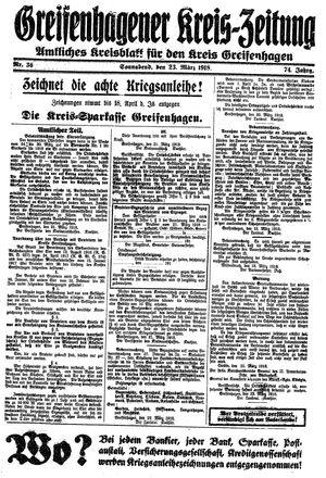 Greifenhagener Kreiszeitung vom 23.03.1918
