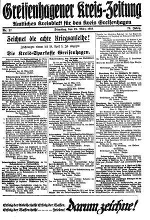 Greifenhagener Kreiszeitung vom 26.03.1918