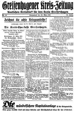 Greifenhagener Kreiszeitung vom 30.03.1918