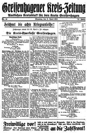 Greifenhagener Kreiszeitung vom 09.04.1918
