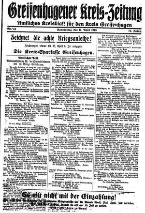 Greifenhagener Kreiszeitung vom 11.04.1918