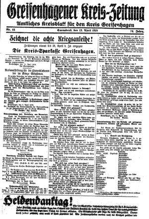 Greifenhagener Kreiszeitung vom 13.04.1918