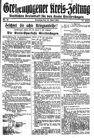 Greifenhagener Kreiszeitung vom 16.04.1918