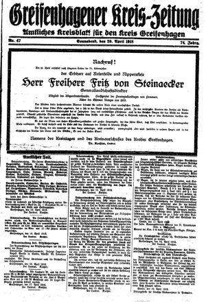 Greifenhagener Kreiszeitung vom 20.04.1918