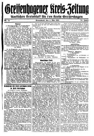 Greifenhagener Kreiszeitung vom 03.05.1918