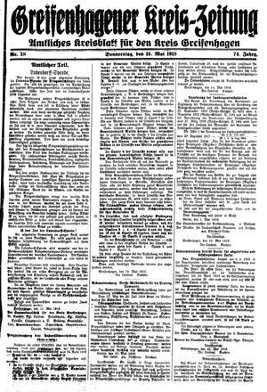 Greifenhagener Kreiszeitung on May 16, 1918