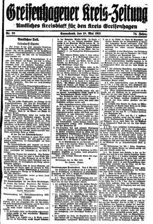 Greifenhagener Kreiszeitung vom 18.05.1918