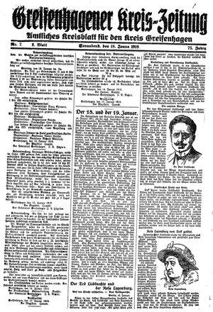 Greifenhagener Kreiszeitung vom 18.01.1919